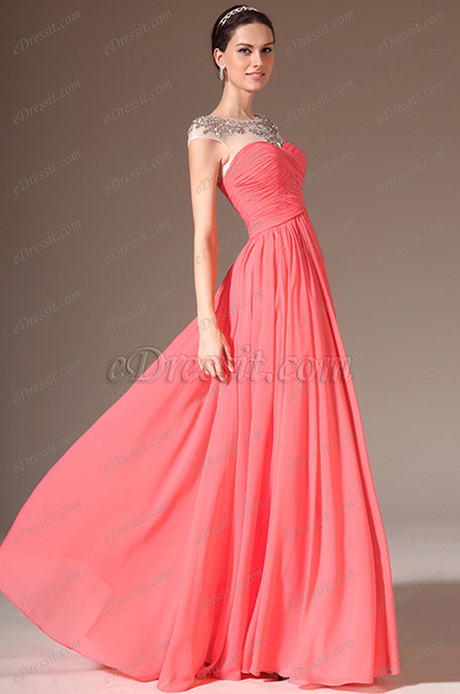 eDressit 2014 Nuevo Neto Arriba Escote Redondo Largura Completa Vestido Formal(02143757)