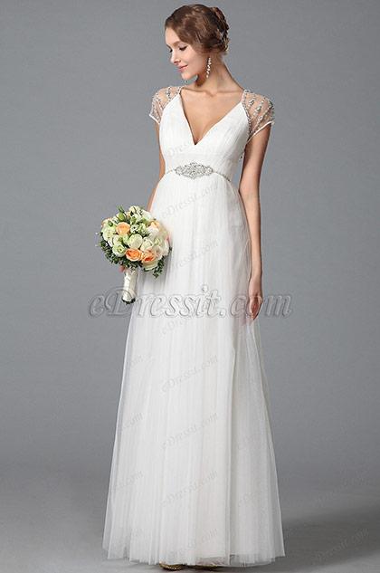 Maravilloso Vestido de Novia Lujoso Cristales en Espalda(01150807)