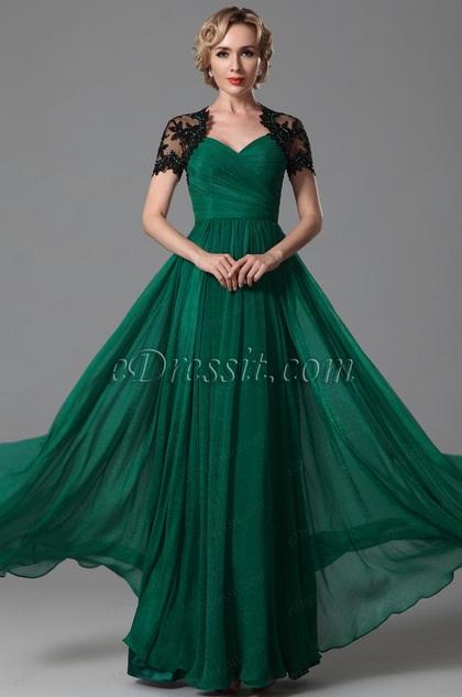 Stunning Sweetheart Short Sleeves Open Back Evening Dress (26152304)