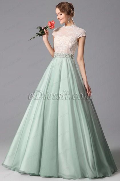Maravilloso Verde Vestido Formal para Noche Overlace Vestido de Graduación(02151304)