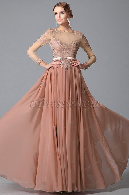 Anmutig Lange Ärmel Spitze Top Abendkleid Formal Kleid (02150346)
