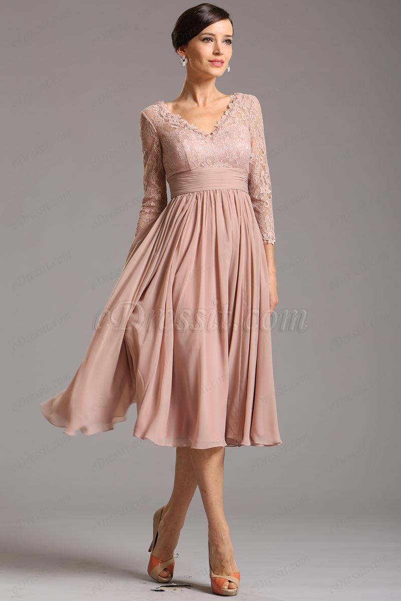 Altrosa Midilänge Cocktail Kleid mit Spitzenärmel (26160146)