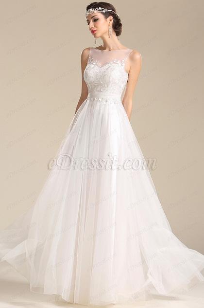 eDressit robe de mariée dentelle simple fluide sans manche (01151107)