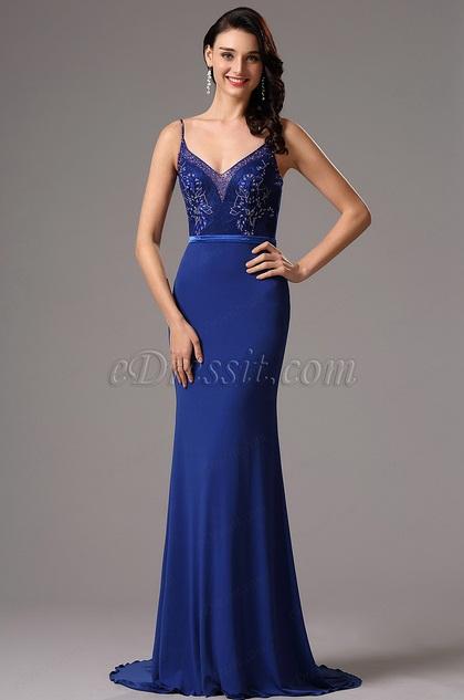 Blau Floral Korsett V Ausschnitt Prom Abendkleid(02161605)