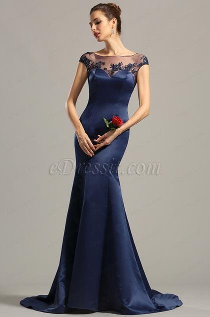 Kappen Ärmel Marine-Blau Abendkleid Formal Kleid (02154705)
