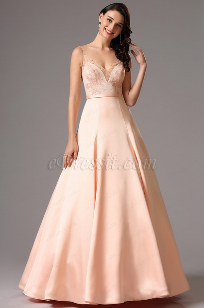 Spaghetti Träger Rosa Spitzenkorsett Abschlussball Kleid(02162201)