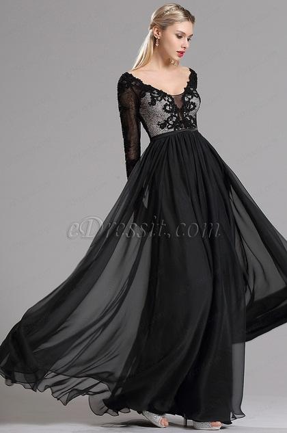 eDressit Schwarz Spitze lange Ärmeln Prom Abendkleid (02162500)