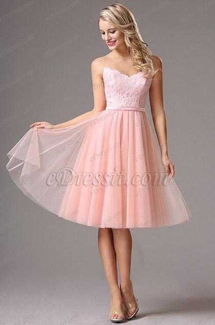 Розовое Коктейльное Платье с Декольте в Форме Сердечка (04160501)