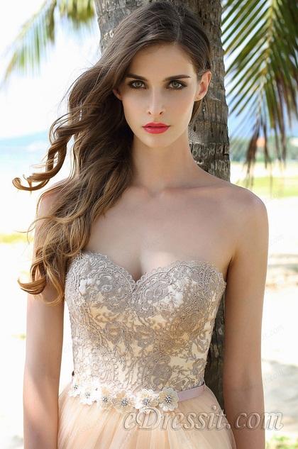Elegant trägerlos süß Ballkleid Abendkleid  (02160814)