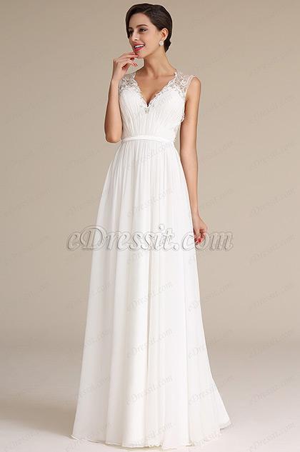 Vestido de Novia De Pliegue Corte V Profundo(01160407)