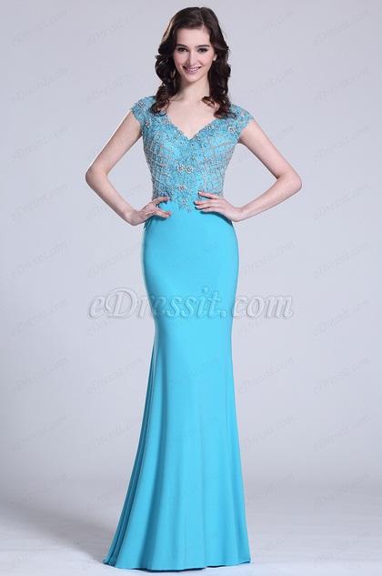 eDressit Elegant Flügelärmel Perlen Blau Abendkleid (C36152005)