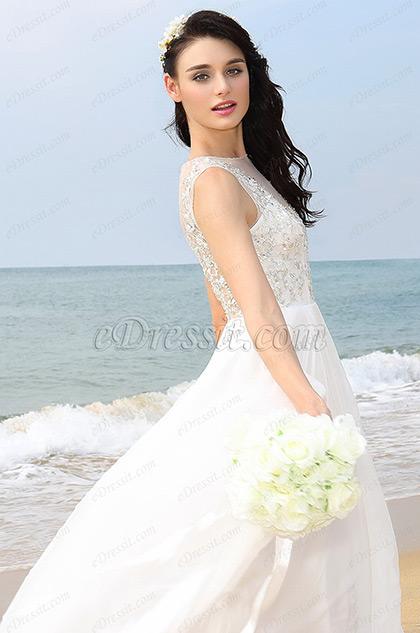 A Line sexy Illusion Kragen Weiß Abendkleid Brautkleid (01160107)