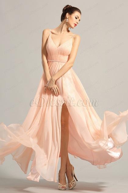 Elegantes Ärmellos V Schnitt Rosa Abendkleid Ballkleid (00153901)