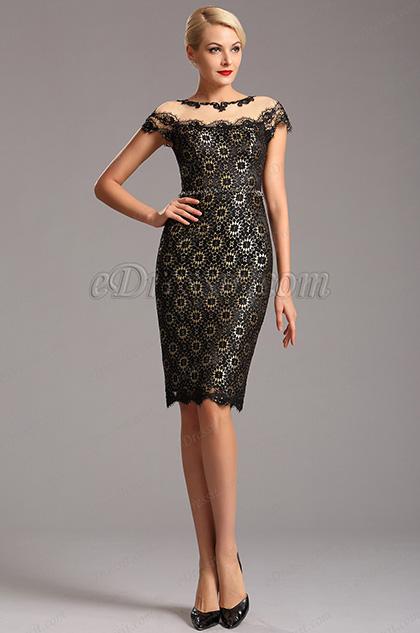 Чёрное Коктейльное Платье с Шапочными Рукавами (03160500)