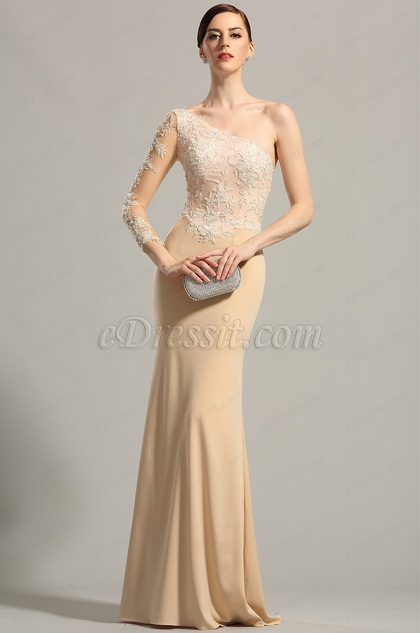 Stylish One Sleeve Lace Evening Gown Formal Dress (00154214)