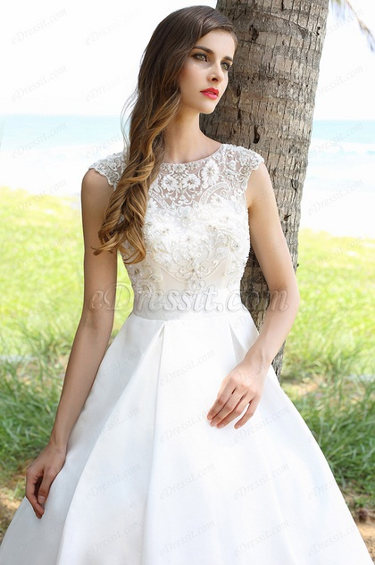 Vestido de Novia para Boda Sin Tirante Bordado Blanco(01160507)