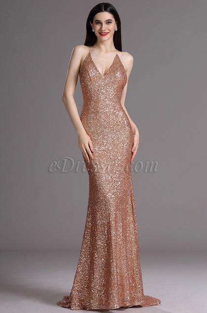 eDressit Spaghetti Halter Plunging Neck Sequins Formal Evening Dress (00165424)