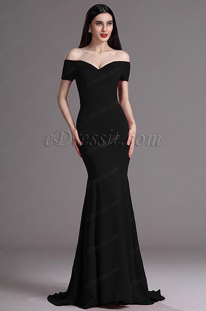 Meerjungfrau-Linie Elegant Schwarz Off-Shoulder Abendkleid(00165200)