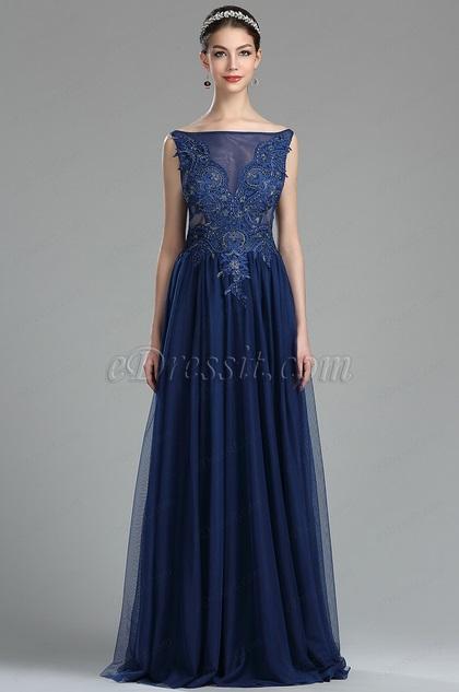 eDressit  Robe de Bal Elégante en Dentelle Perlée Bleu(36174405)