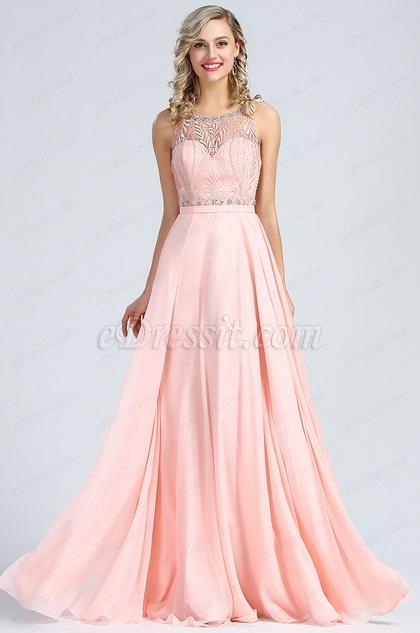 eDressit A Linie  Ärmellos Rosa Perlen Abendkleid (36173901)