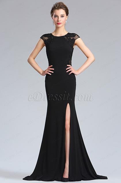 eDressit Lang Elegant Schwarz Spitzen Gipüre Abendkleid (36184700)