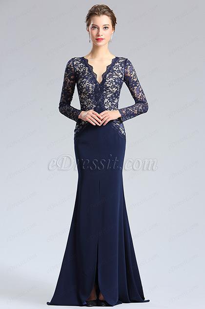 eDressit Blau V-Ausschnitt Spitze Schlank Abendkleid (26181405)