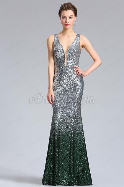 eDressit Elegant Tief V-Ausschnitt Pailletten Abendkleid (02183026)