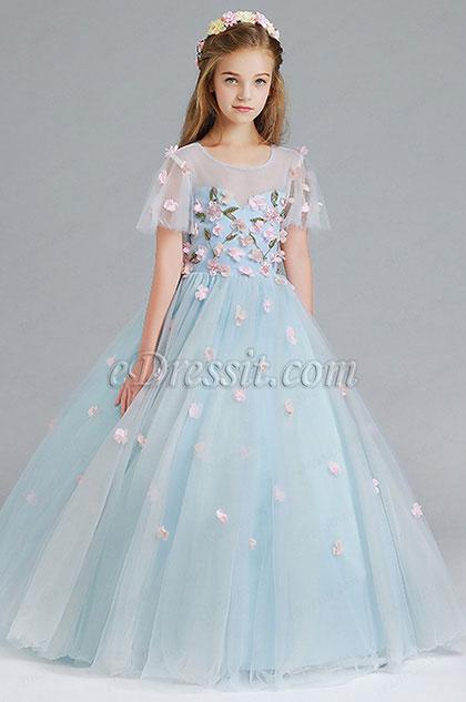 Vestido de niña de flores de boda azul claro hecho a mano(27197605)