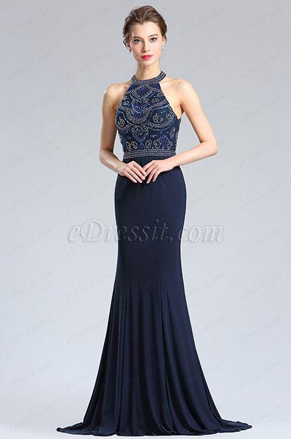 eDressit Sexy Blau Halter Perlen Lang Prom Abendkleid (36182705)