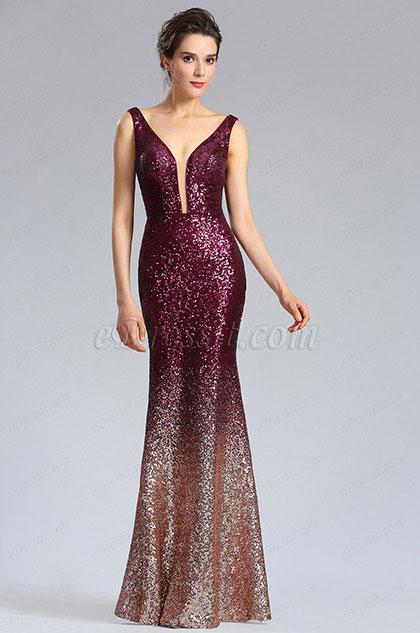 eDressit Elegant Deep V-Cut Burgundy-Gold Sequins Party Dress (02183017)