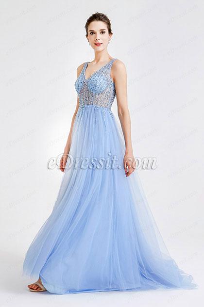 eDressit Blau Sparkly V Cut Perlen Abendkleider (36180505)