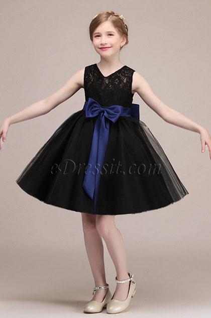 eDressit Robe de Filles Noire avec Nœud Papillon Bleu (28192400)
