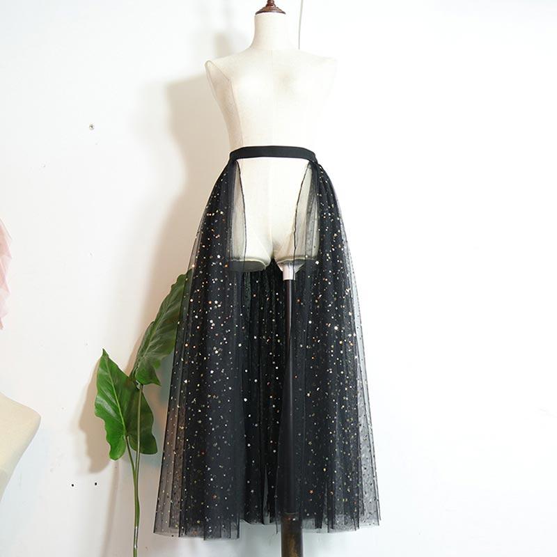 New Sparkly Sequins Tulle Overskirt Long Tutu Skirt (T060200)