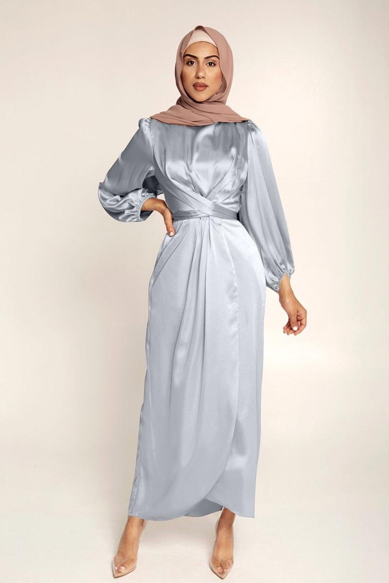 New Women's Elegant Empire Waist Long Sleeve Satin Maxi Dress (T300001C)