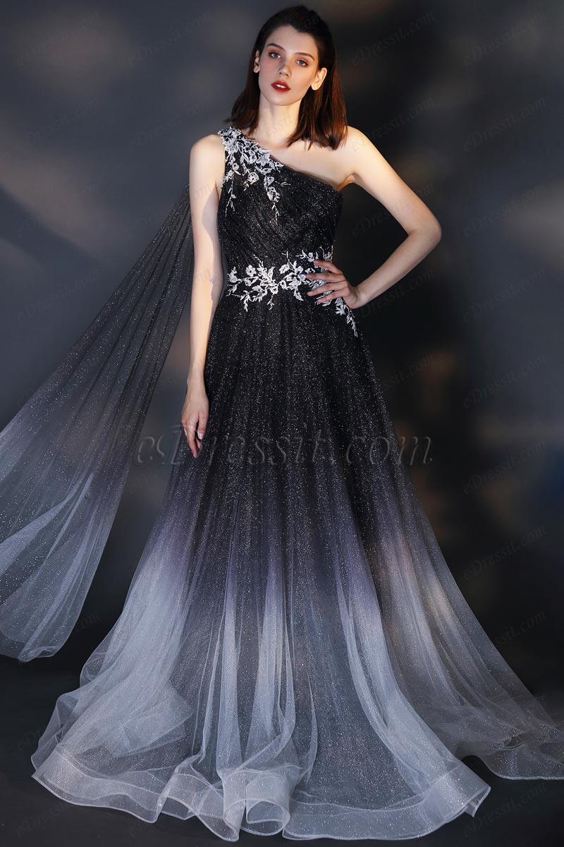 Vestido de fiesta gris con gradiente de un hombro (00207856)