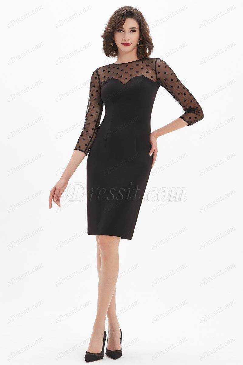 eDressit Spot Tulle Short Little Black Party Dress (26210600)