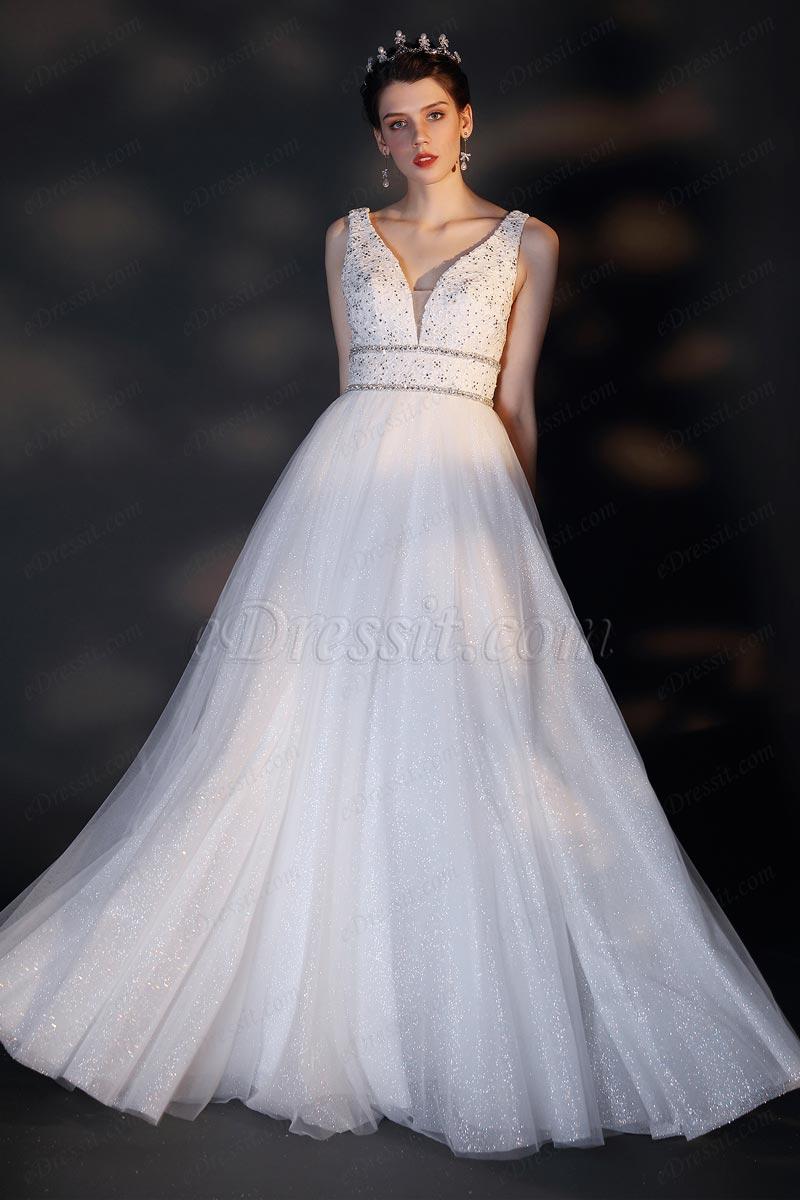 Vestido de novia de novia con cuentas de bordado en V (01202307)