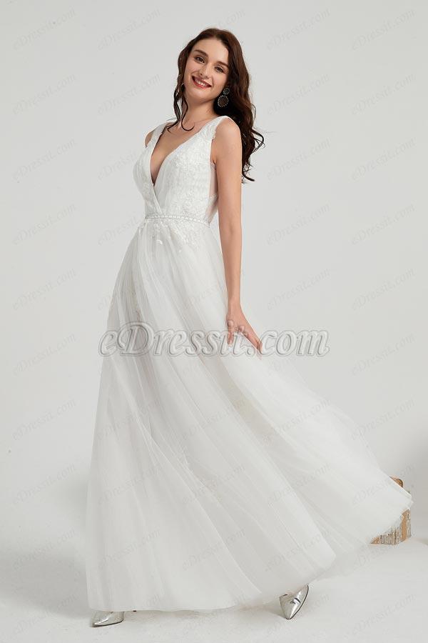 eDressit Weiß V-Schnitt Spitz Lang Tüll Party Braut Kleid (01200307)