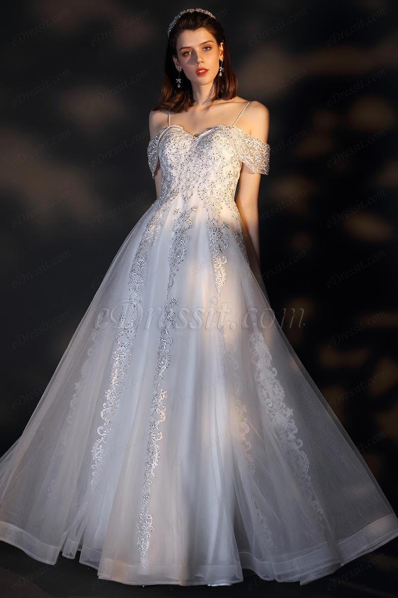 eDressit Спагетти с плеча кружева тюль свадебное платье нев (01201807)