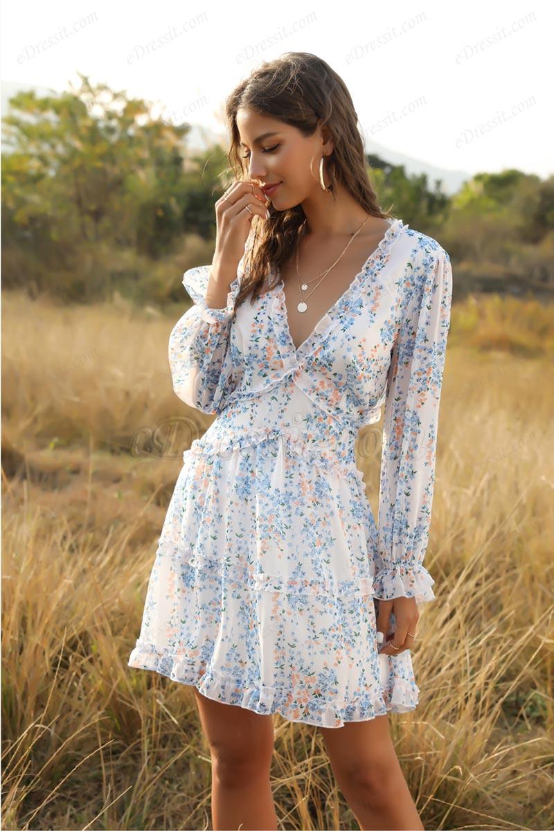 Women Comfort Mini Dress Short Floral Summer Dress (T061037)