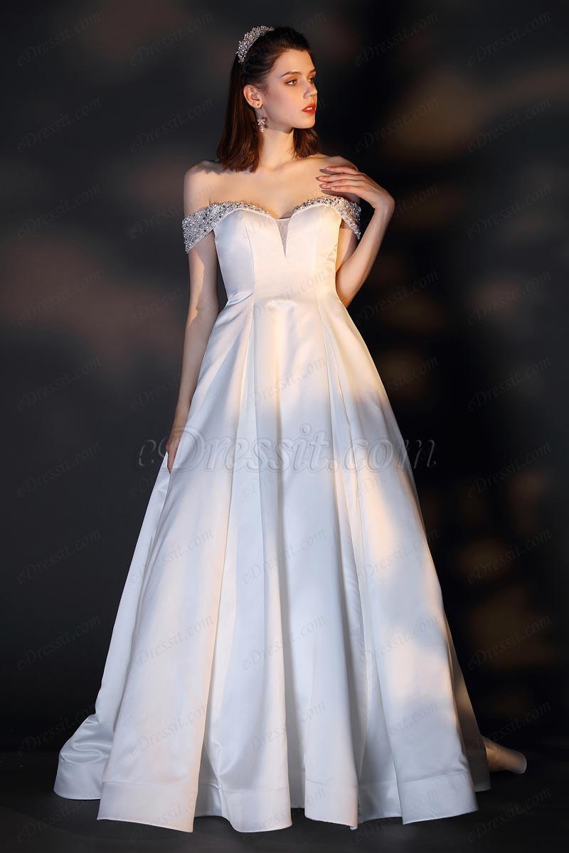 Vestido de novia con escote en V y hombros descubiertos (01201307)