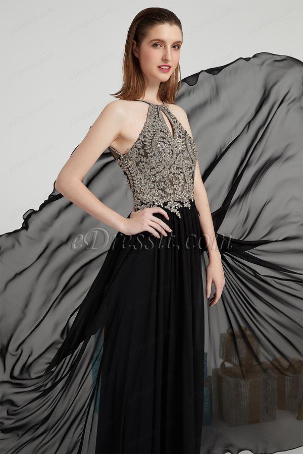 eDressit Neu Schwarz Perlen Halter Party Prom Kleid(00202600)