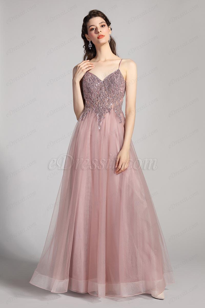 Вечернее платье из тюля с V-образным вырезом и бисером (00208946)