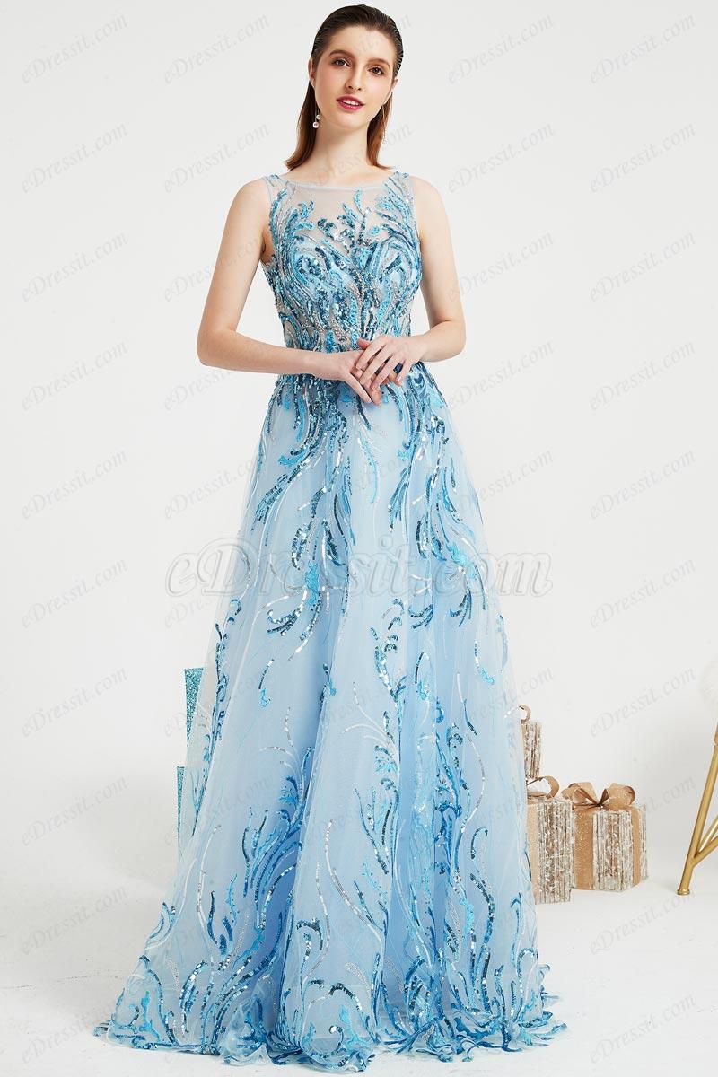 Vestido de noche largo de lentejuelas brillantes y azules (00202605)