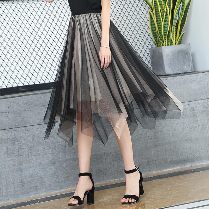 Women's Sheer Tutu Skirt Tulle Mesh Layered Midi Skirt (T440001)