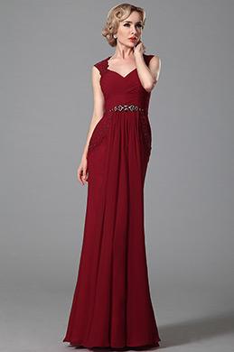 Gorgeous Sleeveless V Neck Red Evening Dress Formal Wear (00152502)