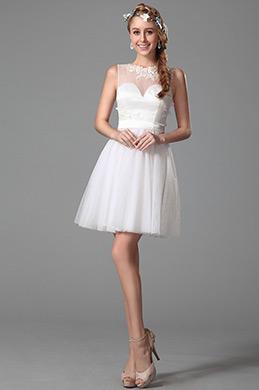 Schmeichelnde Ärmelloses Kleid mit Illusion Süß Ausschnitt (04150407)