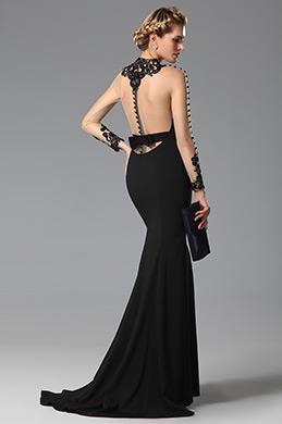 eDressit Robe de soirée sirène noire sexy dos nu dentelle (02150100)