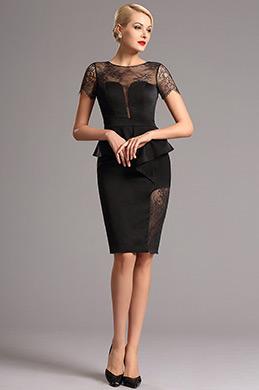 Retro Spitze Kurzärmliges kurz schwarzes Kleid(26160600)