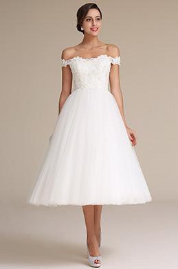 Dressit Elegant Weiß Auf-Schulter Cocktailparty Brautkleid (01161307)